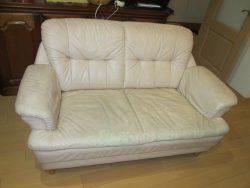 【sofa】ソファ 経年劣化で座面がボロボロに、銀面補修でリニューアルしました。