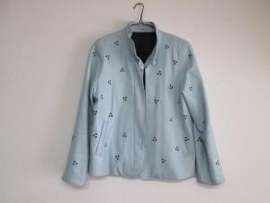 【革ジャケット】職人泣かせの穴あき刺繍デザイン 染め直し